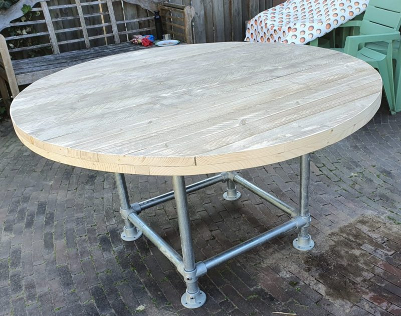 Tafel steigerhout rond