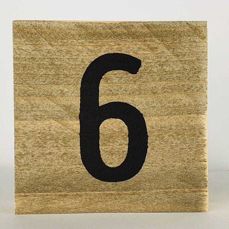 Houten cijfers 6