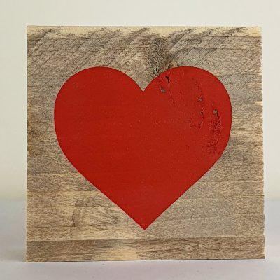 Houten symbool - Hart rood